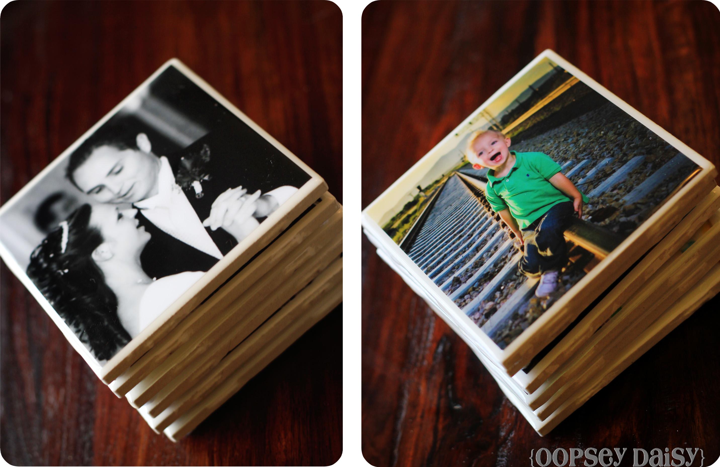 Photo tile coasters using resin oopsey daisy - Fotogeschenke gestalten ...