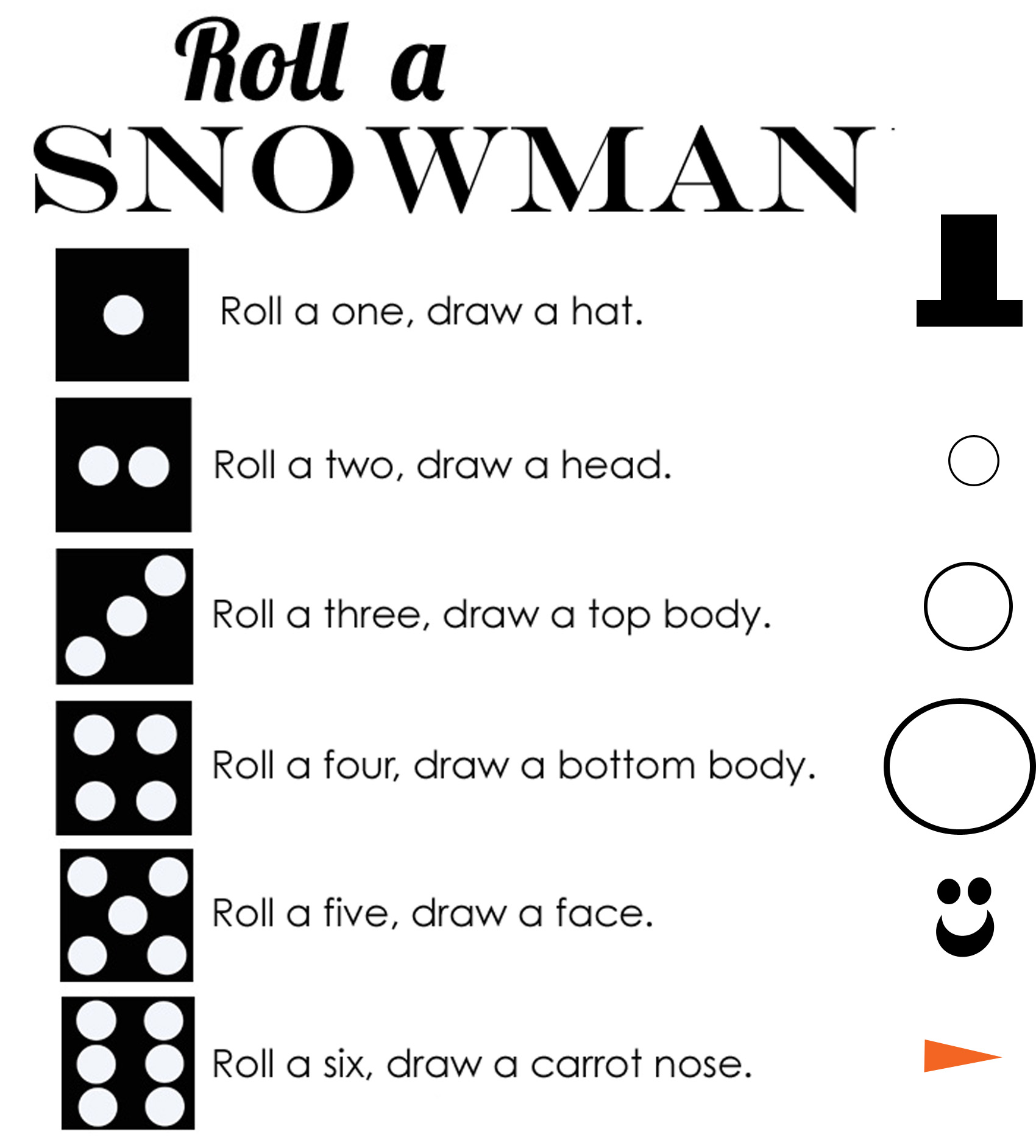 Roll a Snowman Dice Game Free