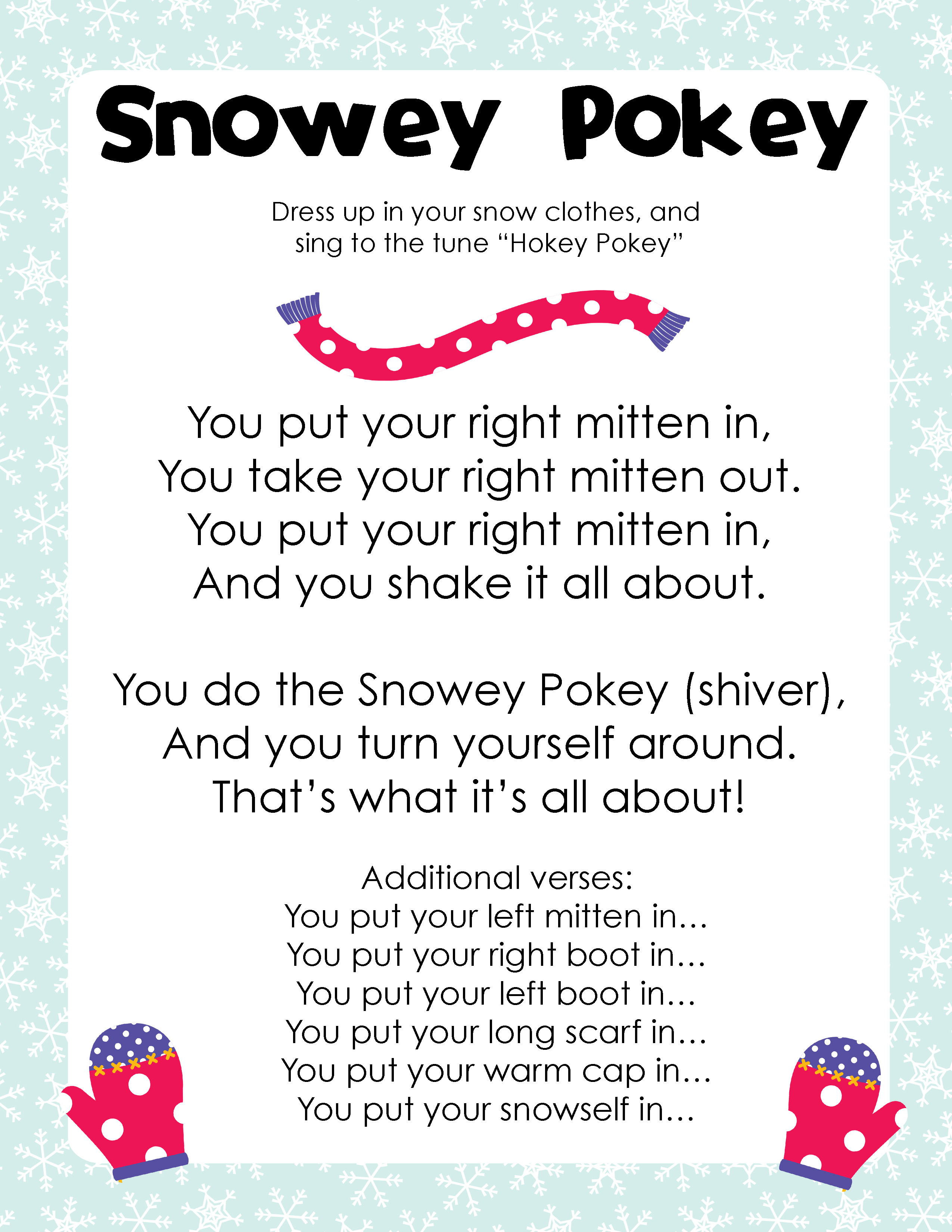 The snowey pokey quot sung to the tune of quot the hokey pokey quot clever