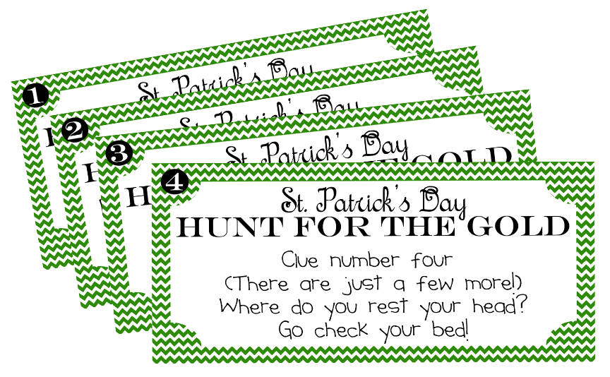 image regarding Family Reunion Scavenger Hunt Printable titled St. Patricks Working day Treasure Hunt Printable